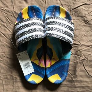 NWT Adidas Floral Stripe slip on sandals size 11